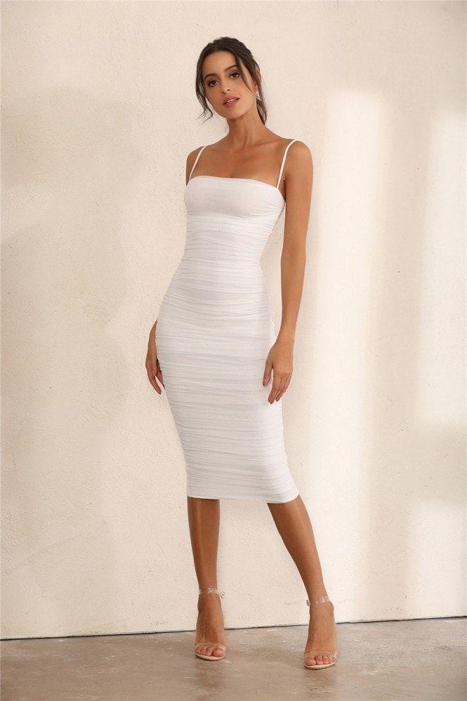 White bodycon midi dress - white ruched dress