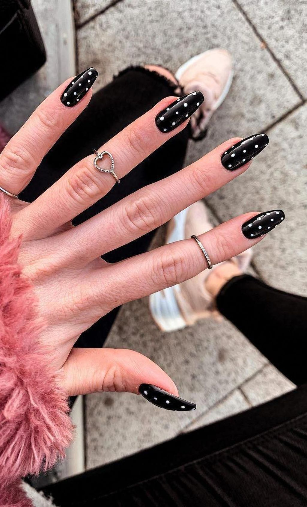 Black polka dot nails