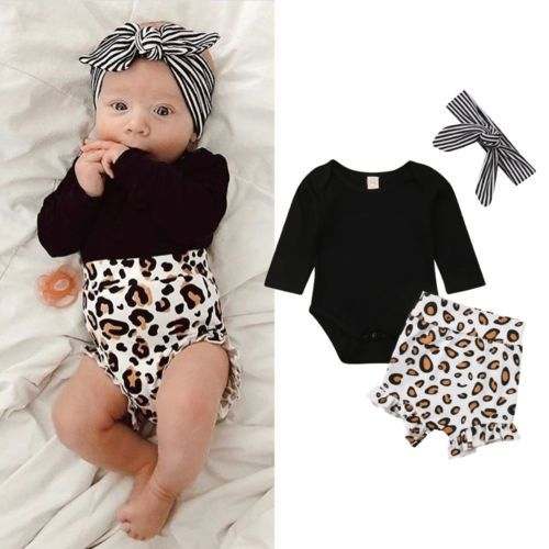 Cute baby girl outfits for newborns with leopard print