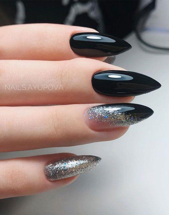 Black and silver glitter stiletto nails