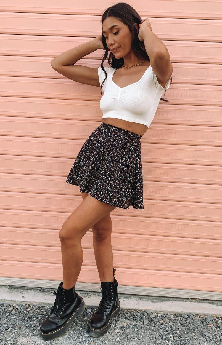 Cute floral print black mini skirt with crop top