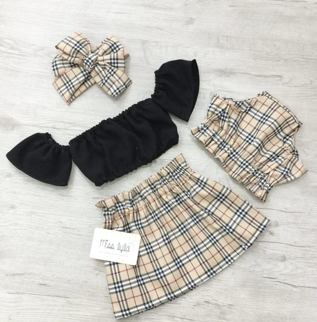 Cute summer outfits for baby girl with tartatn skirt