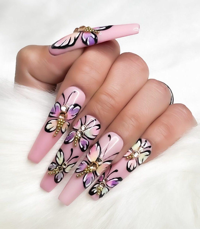Pink butterfly nail art ideas