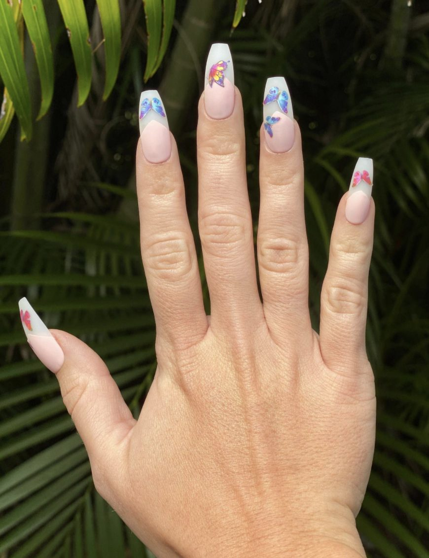 French tip butterfly nails in acrylic coffin shape