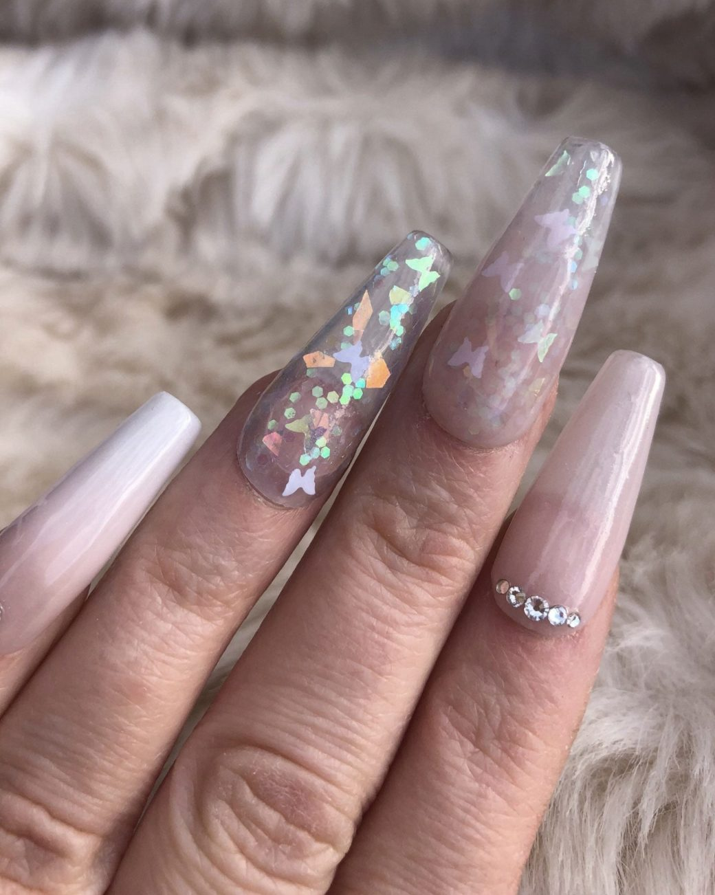 White and pink ombre butterfly nails