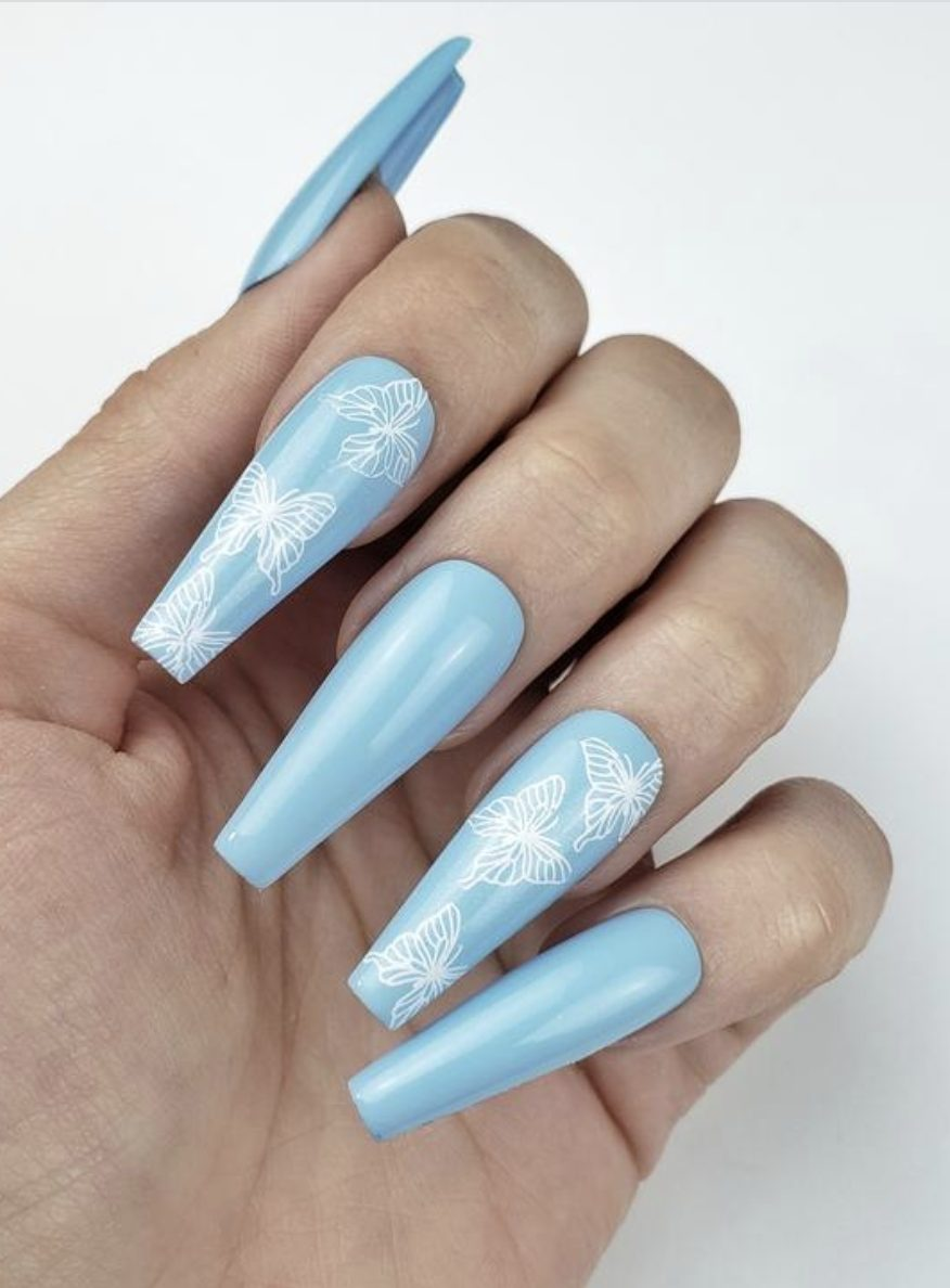 Baby blue butterfly nail in coffin shape