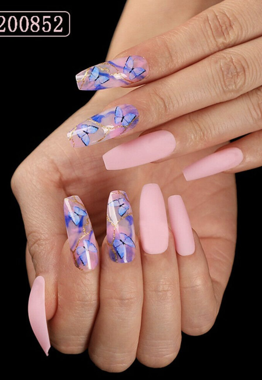 Pink and blue acrylic butterfly nails