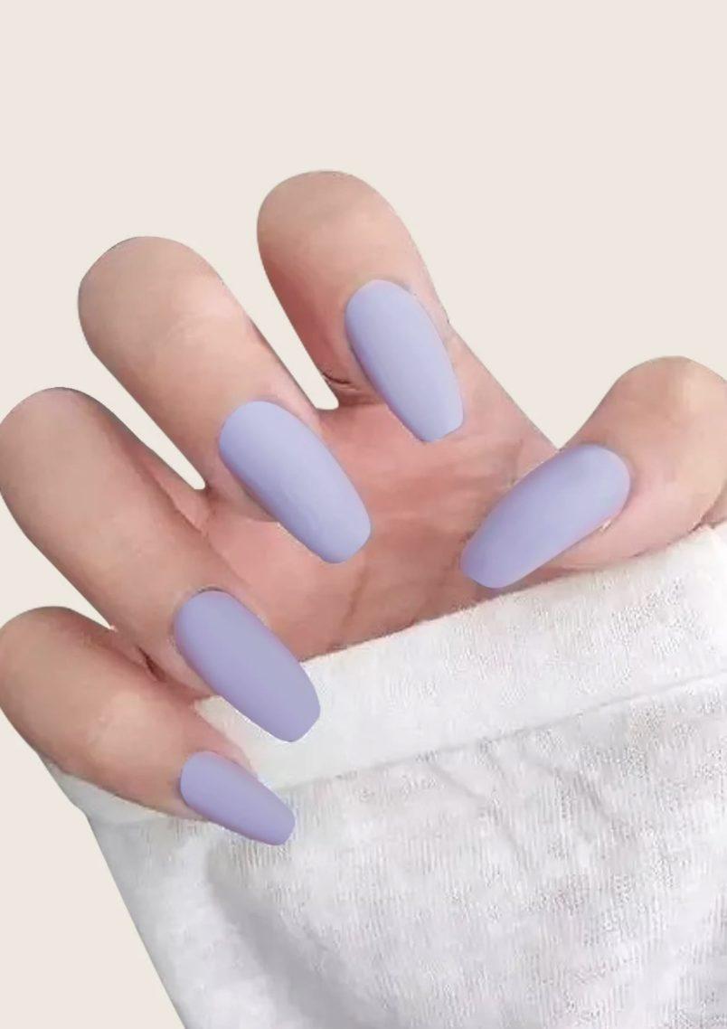 Matte pastel purple press on nails