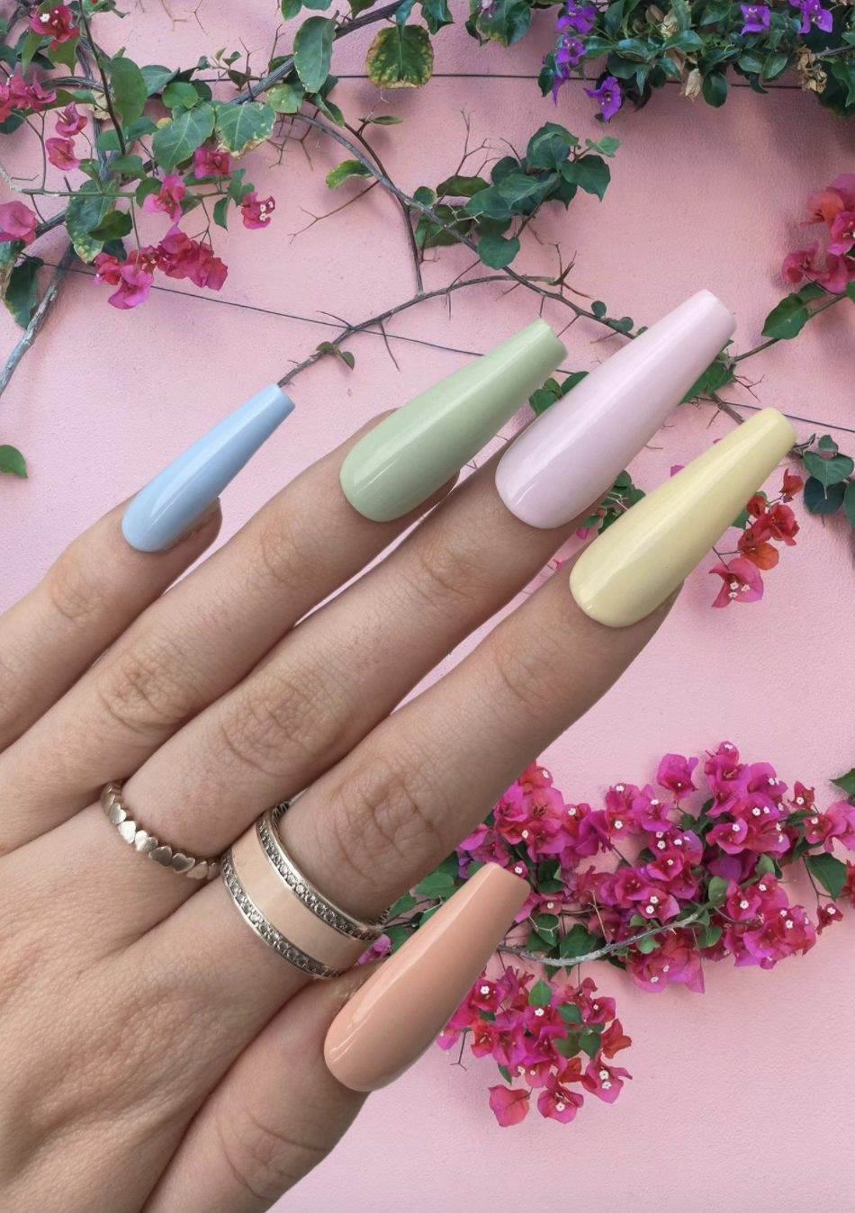 Ombre pastel nail designs in acrylic coffin shape