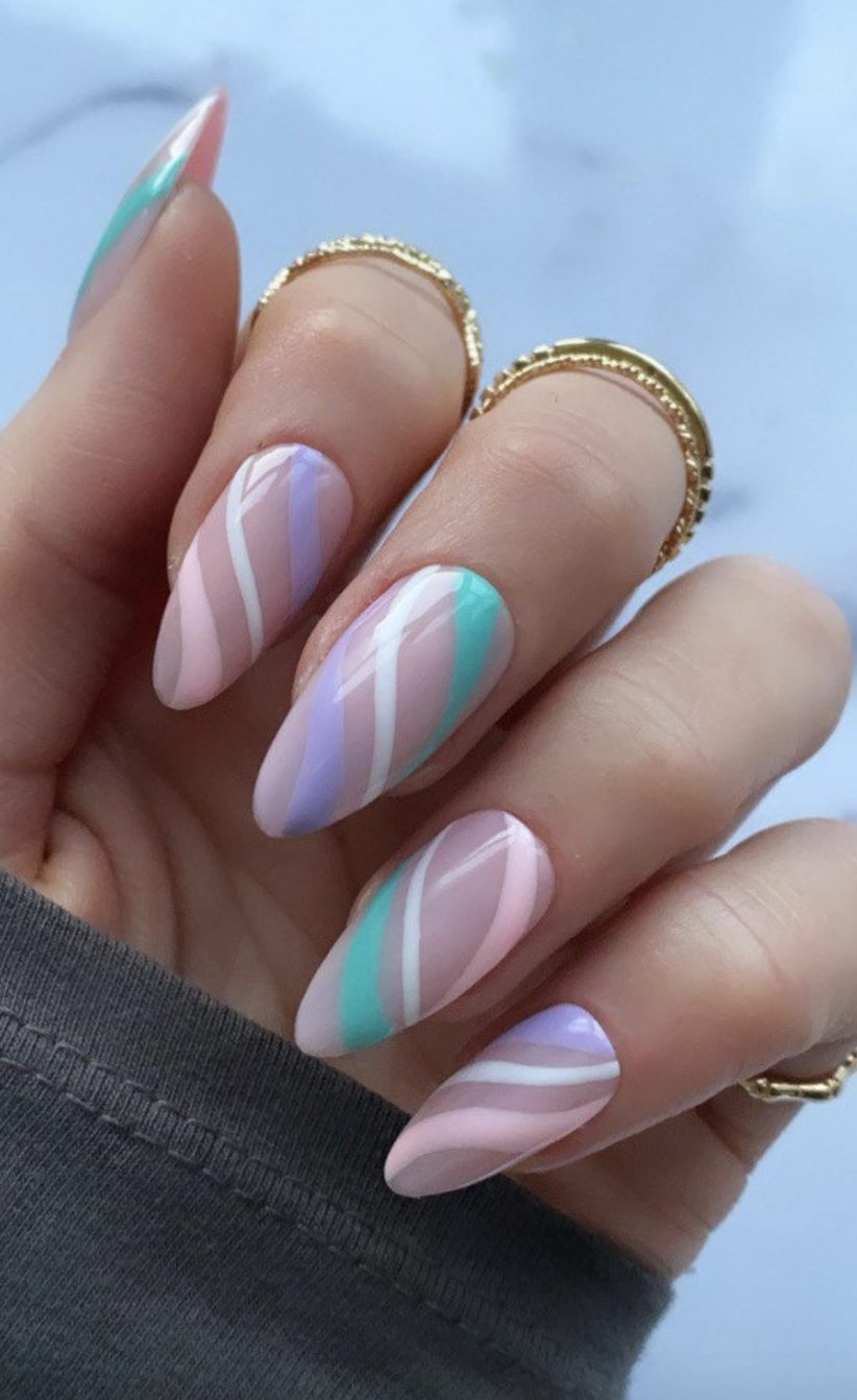 Pastel pink and purple abstract nails