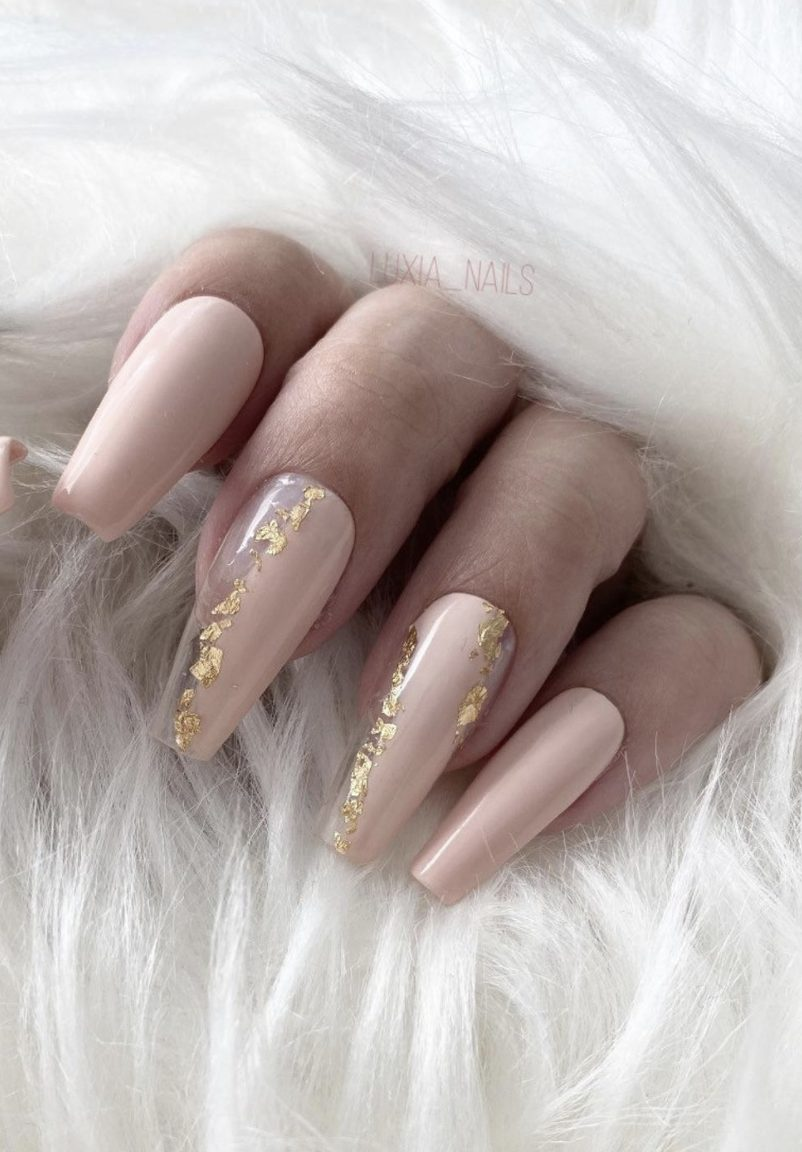 Pastel pink coffin nails with gold foil