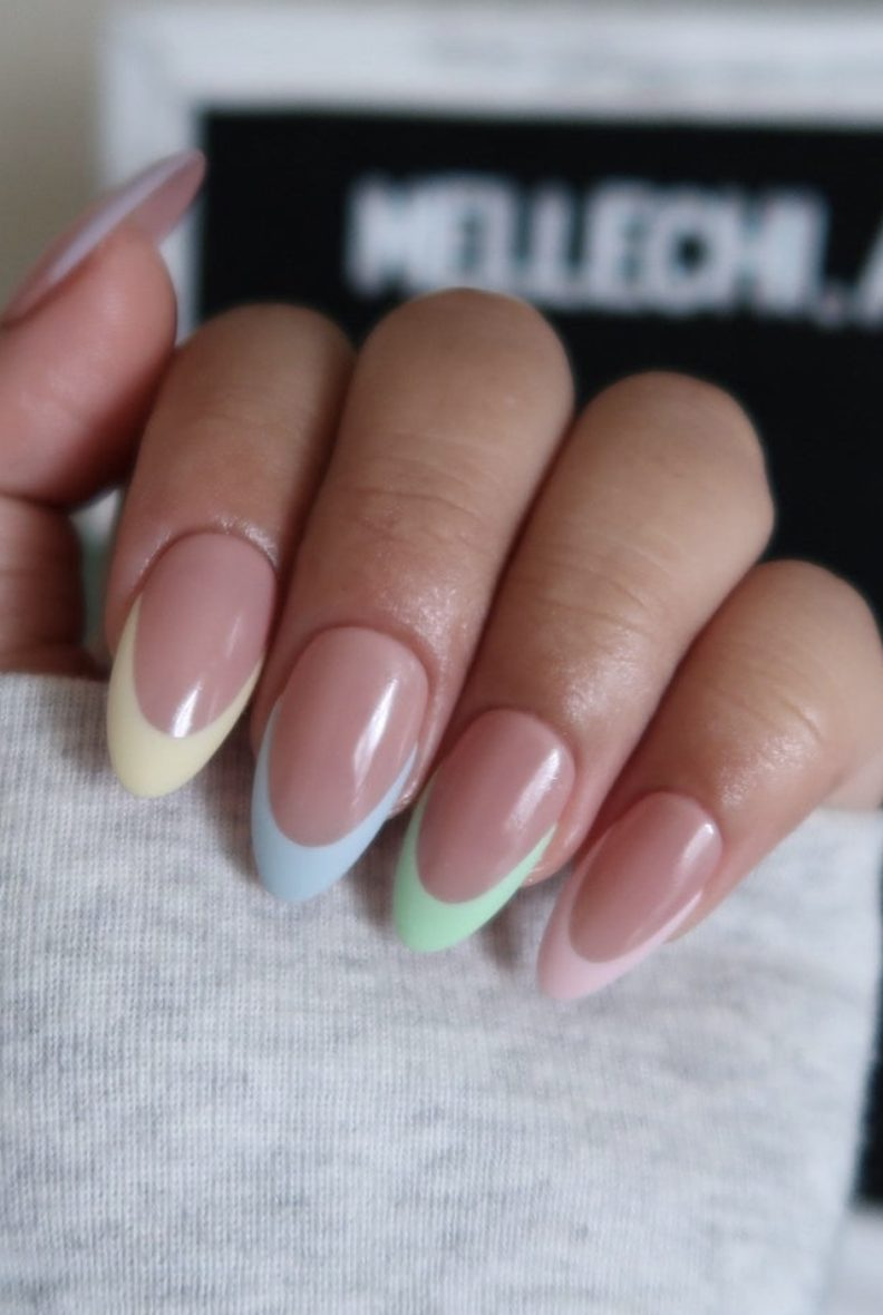 Pastel French tip nails with pink, green, blue and yellow
