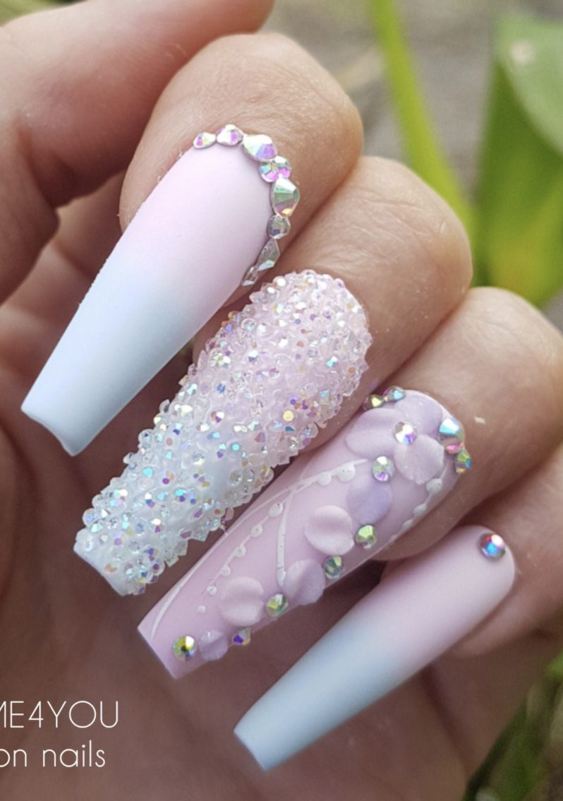 Pastel blue and pink ombre nails with rhinestones