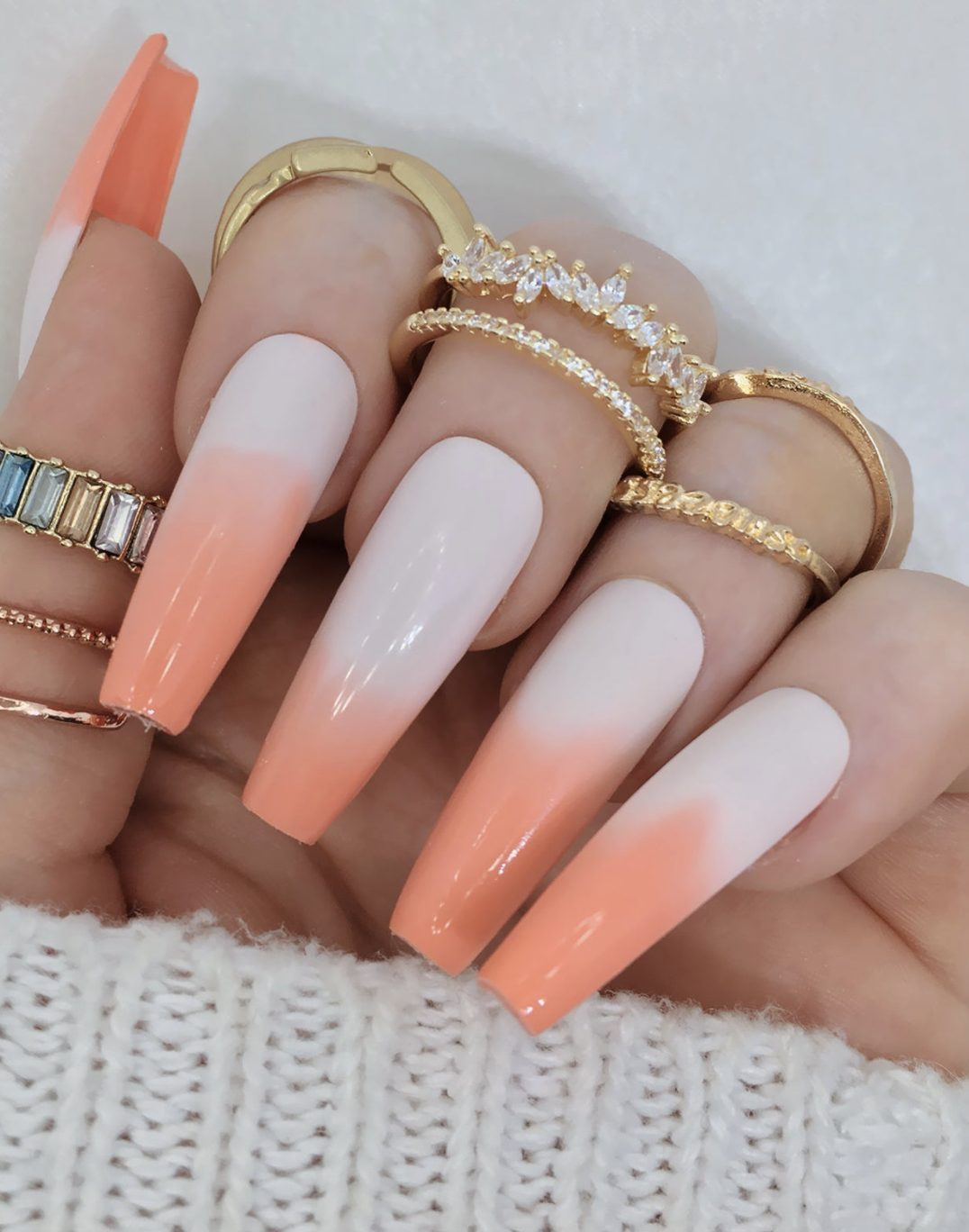 Peach French tip ombre nails