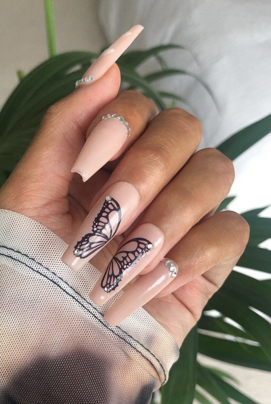 Pink acrylic coffin butterfly nails