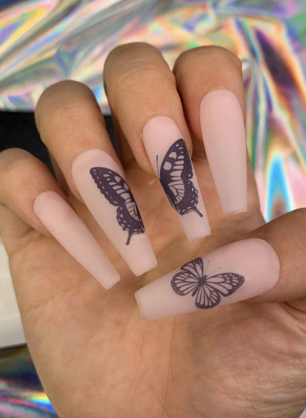 Matte light pink butterfly nails