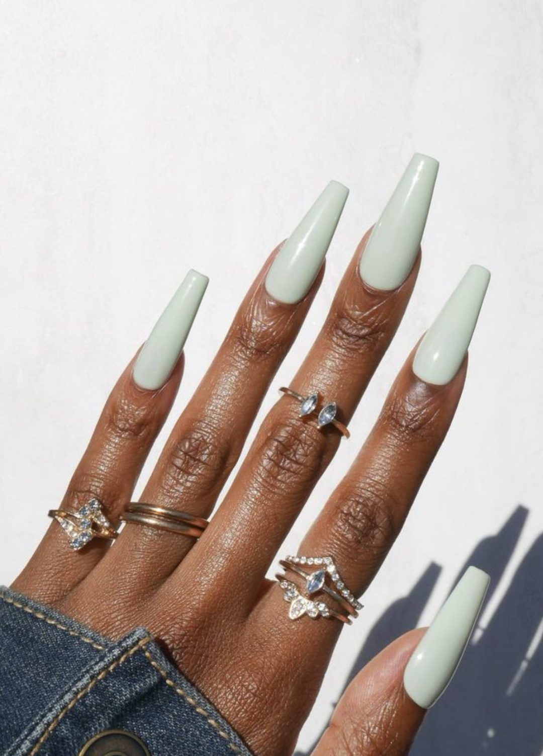 Long sage green press on nails in coffin shape