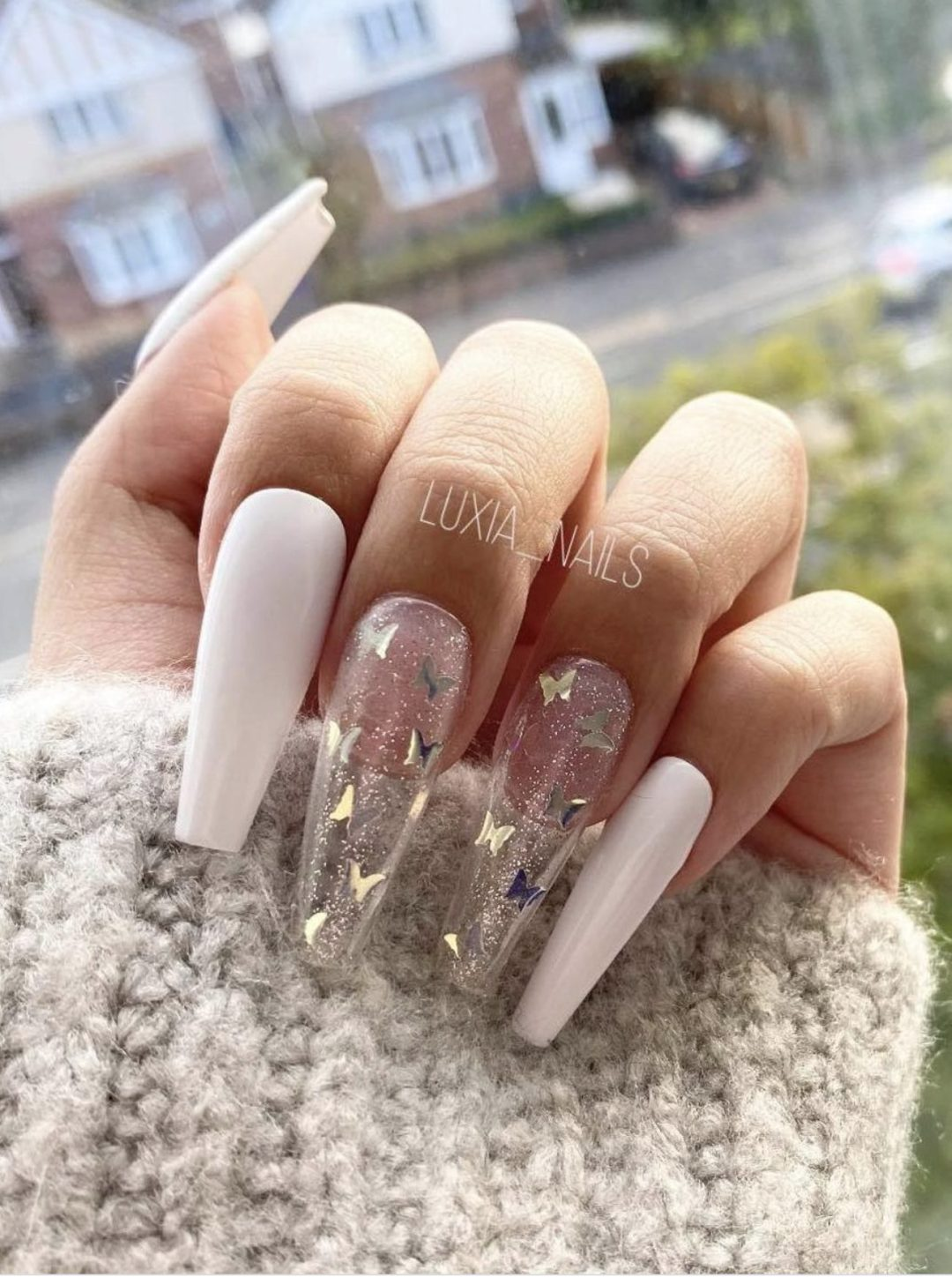 White and transparent acrylic butterfly nails