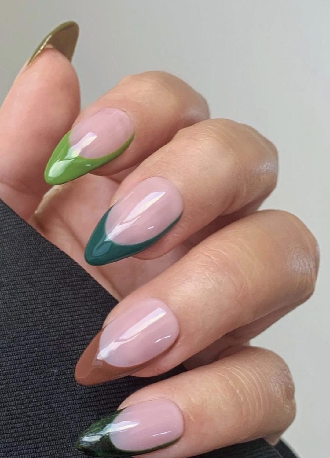 Green and brown French tip press on nails in almond shape