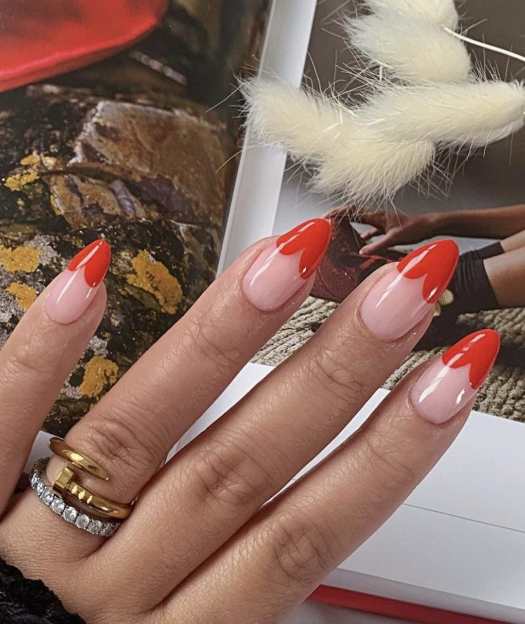 Cute red French tip nails with heart design