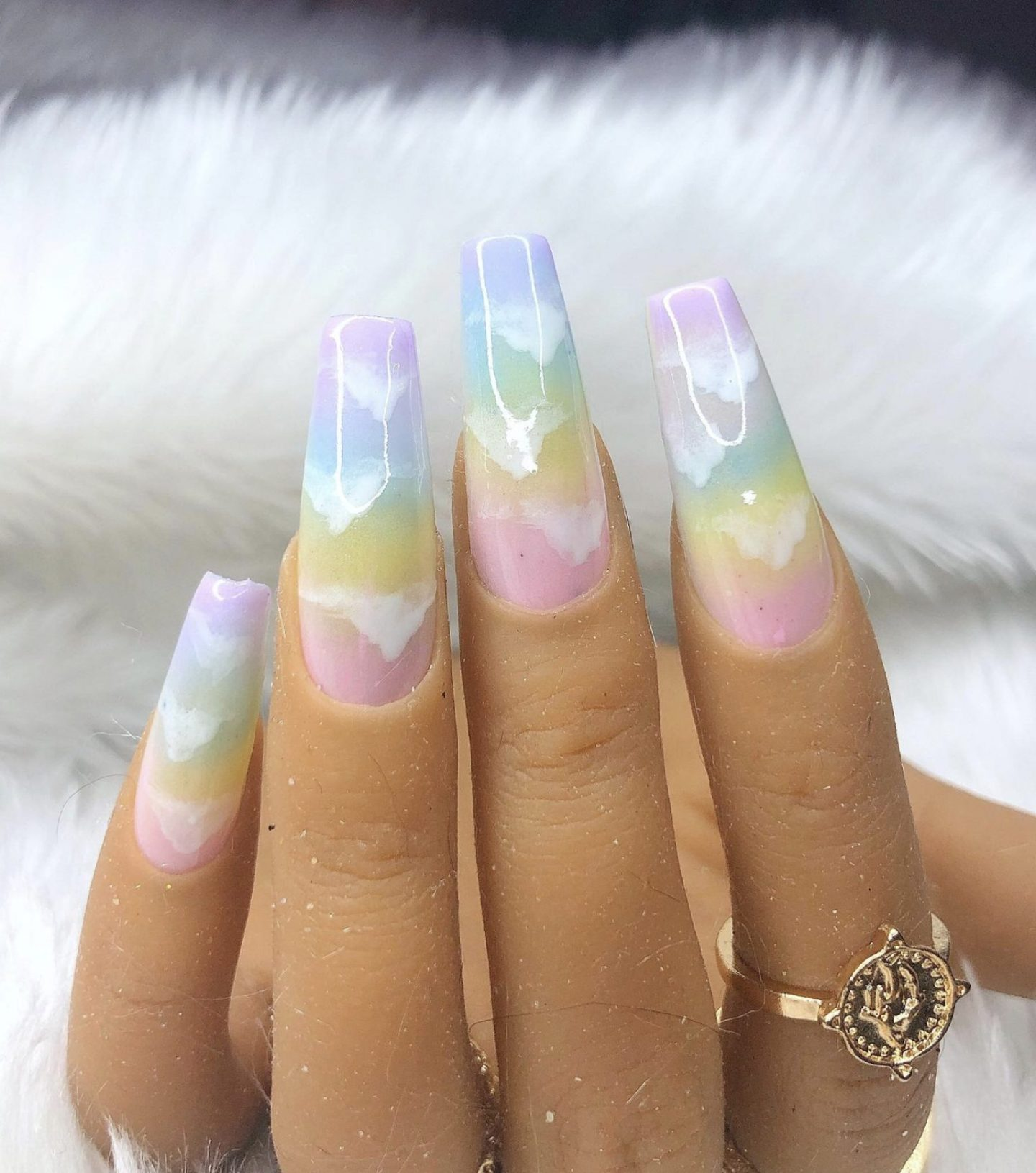 Pastel ombre press on nails with cloud nail art