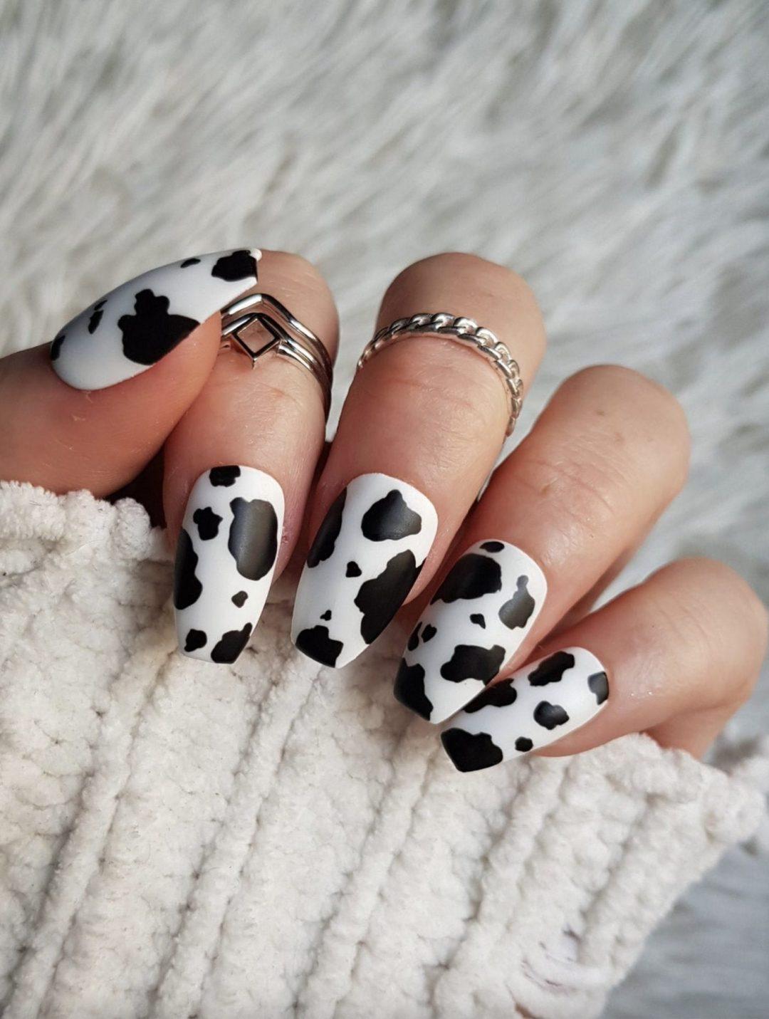 Cute cow print nails
