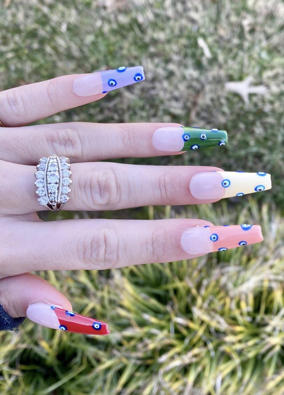 Colorful evil eye nails