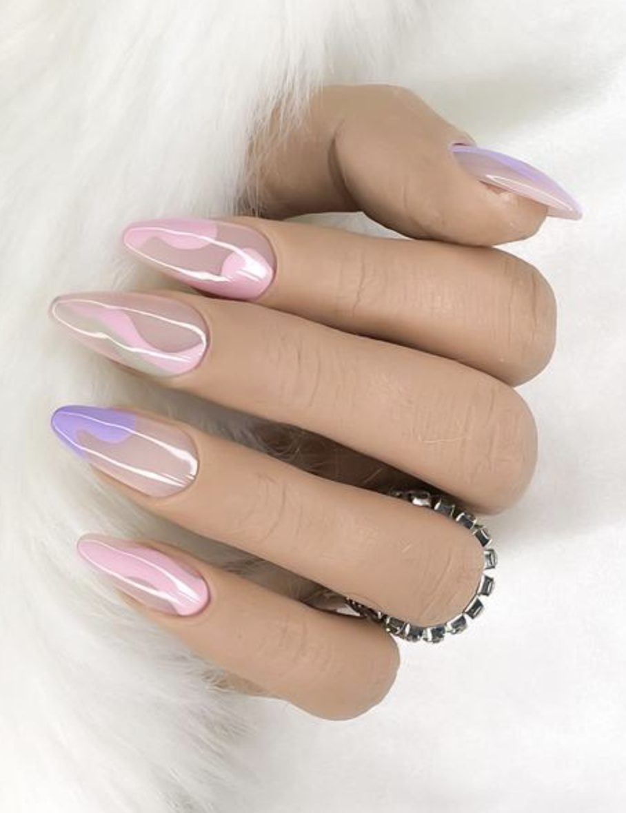 Purple and pink abstract nails with swirls
