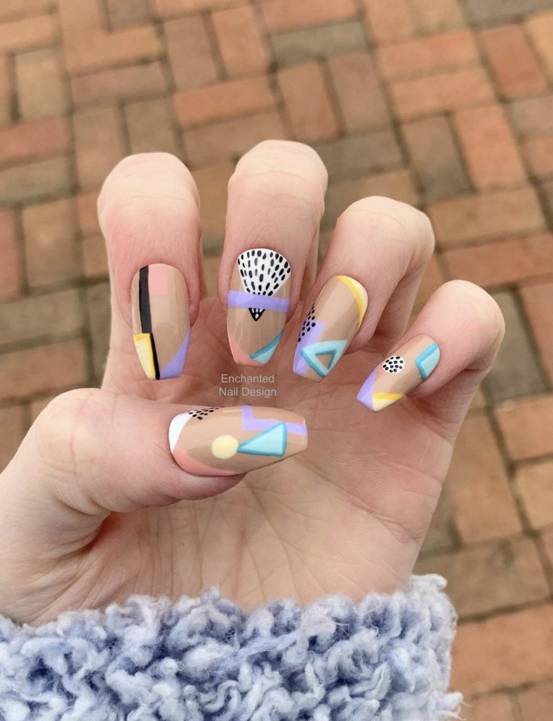 Cute and colorful abstract nail designs with patterns