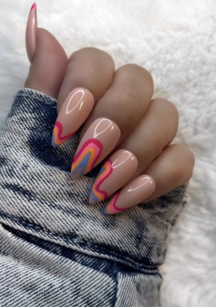 Cute rainbow French tip nails