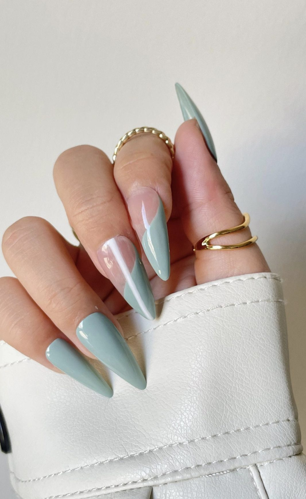 Trendy sage green French tip nails