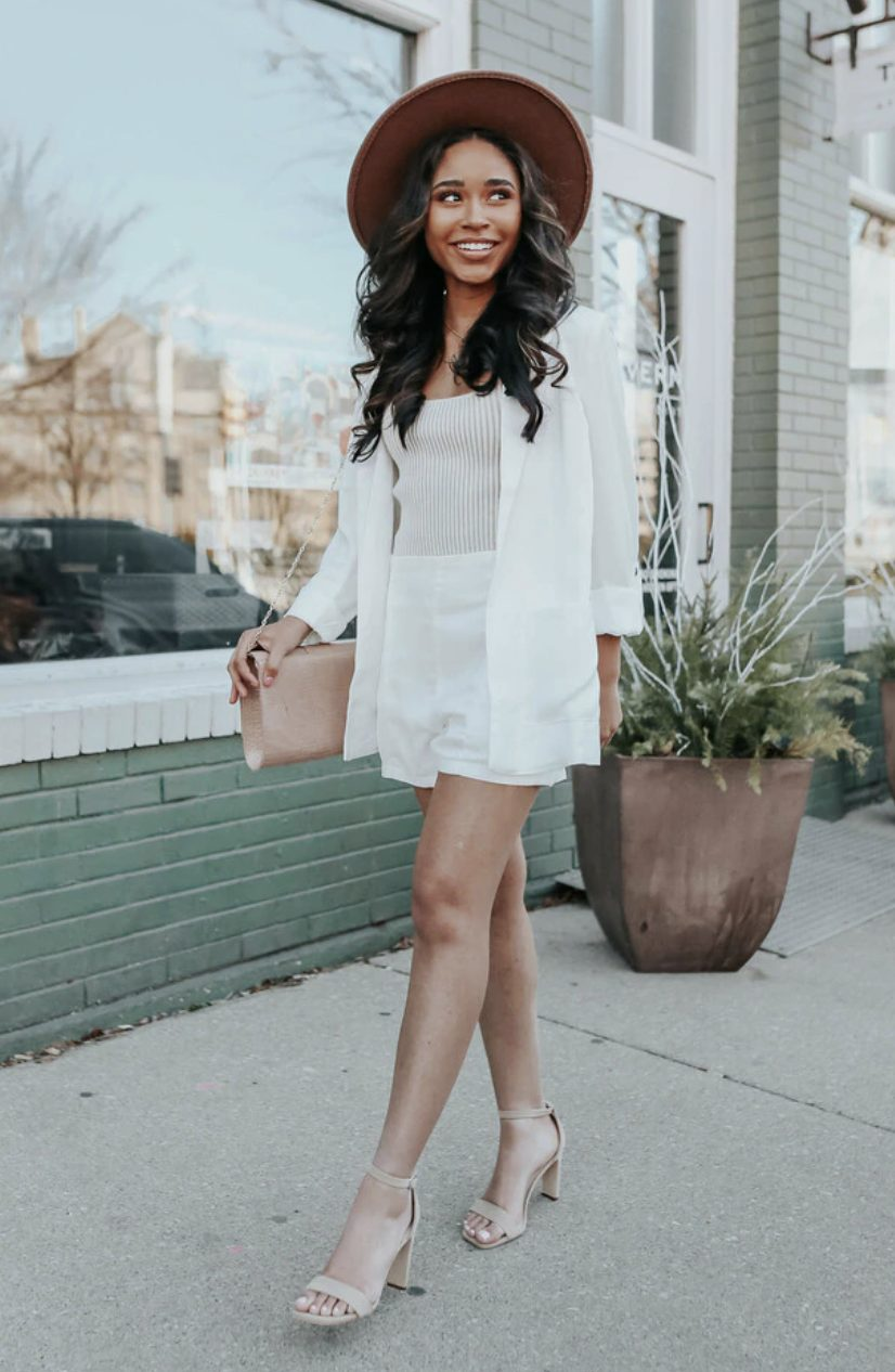 Chic white blazer outfit