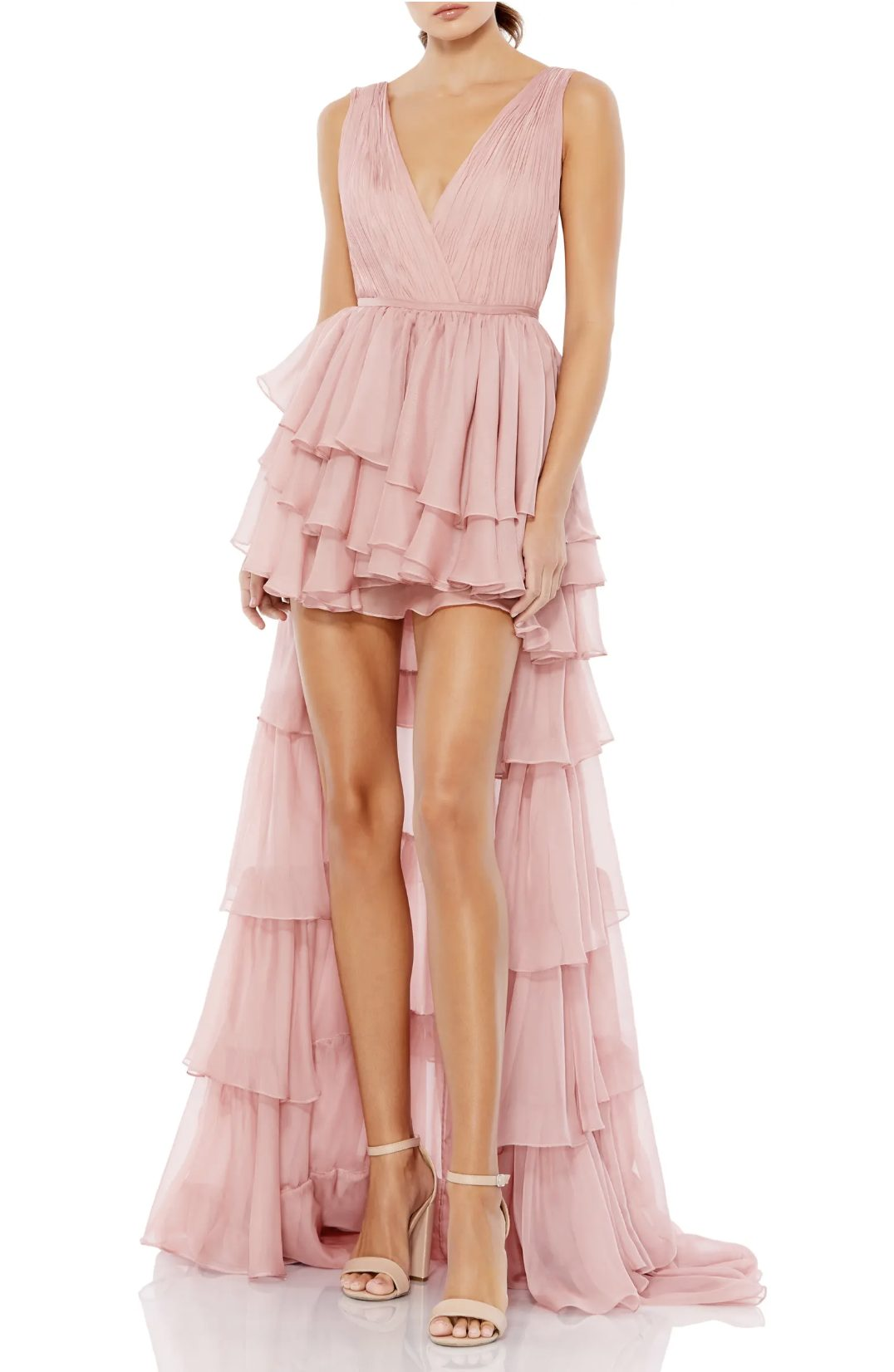 Blush pink tiered prom dress with long trail