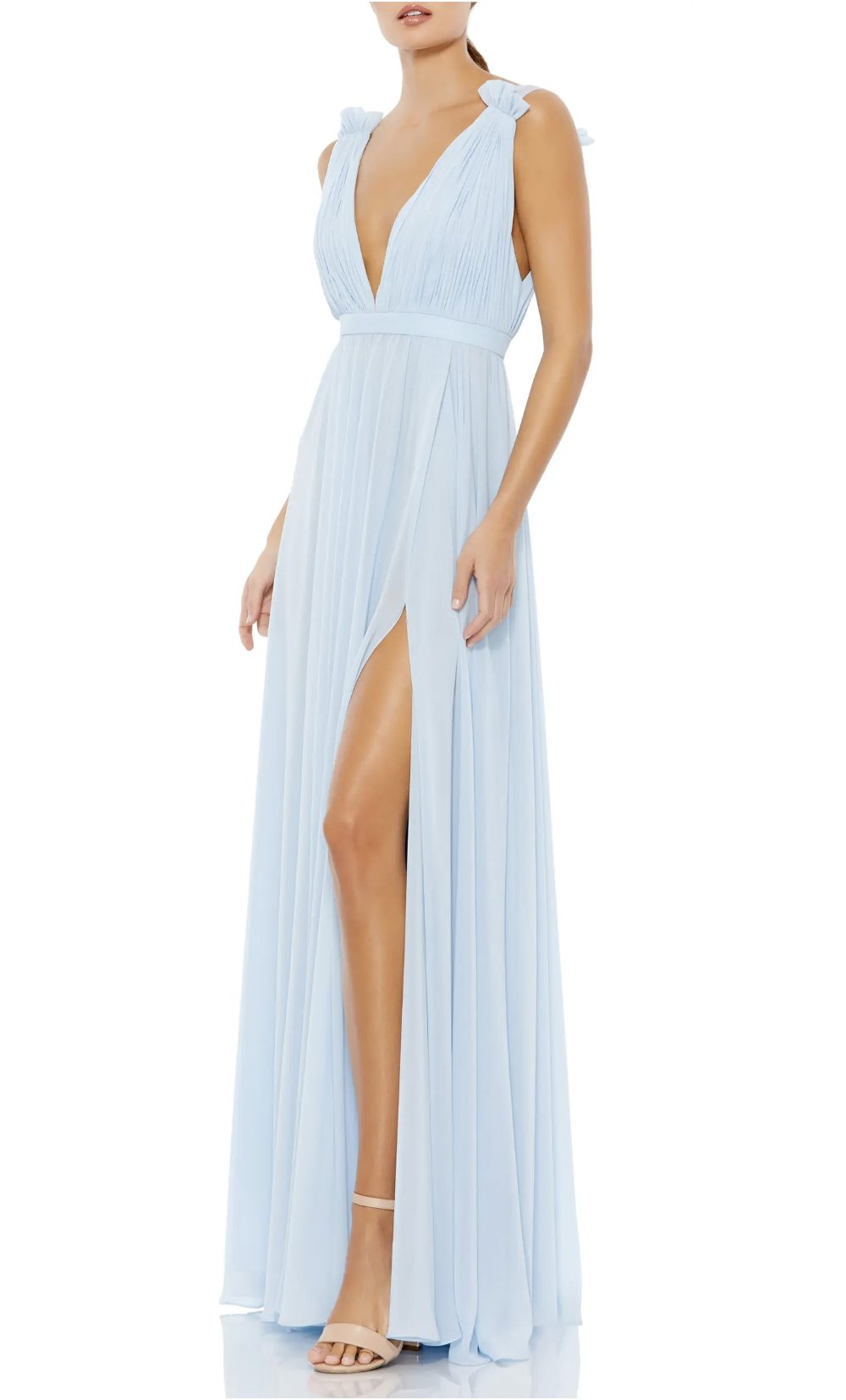 Light blue long prom dress with split