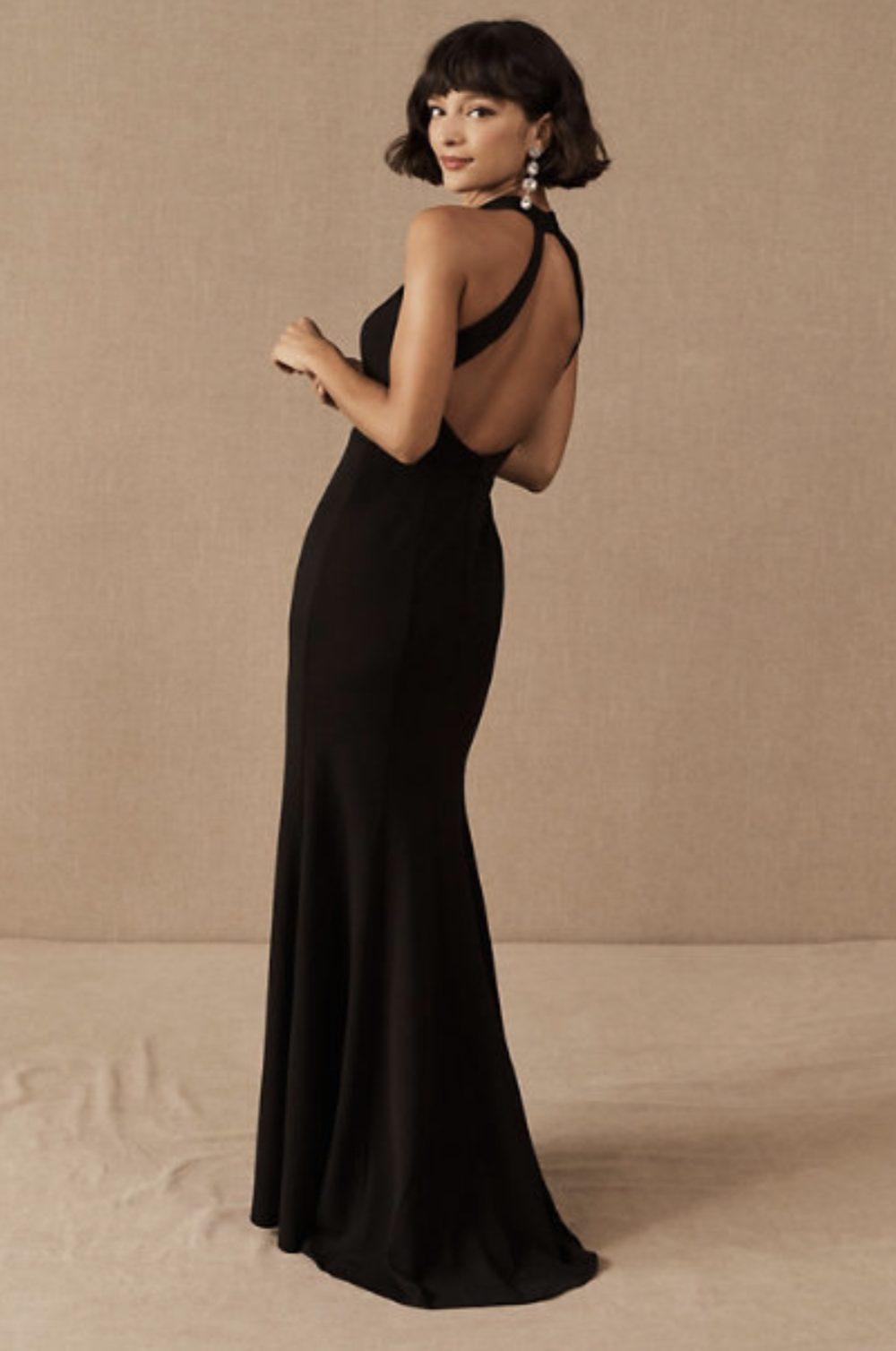 Backless black gala dress