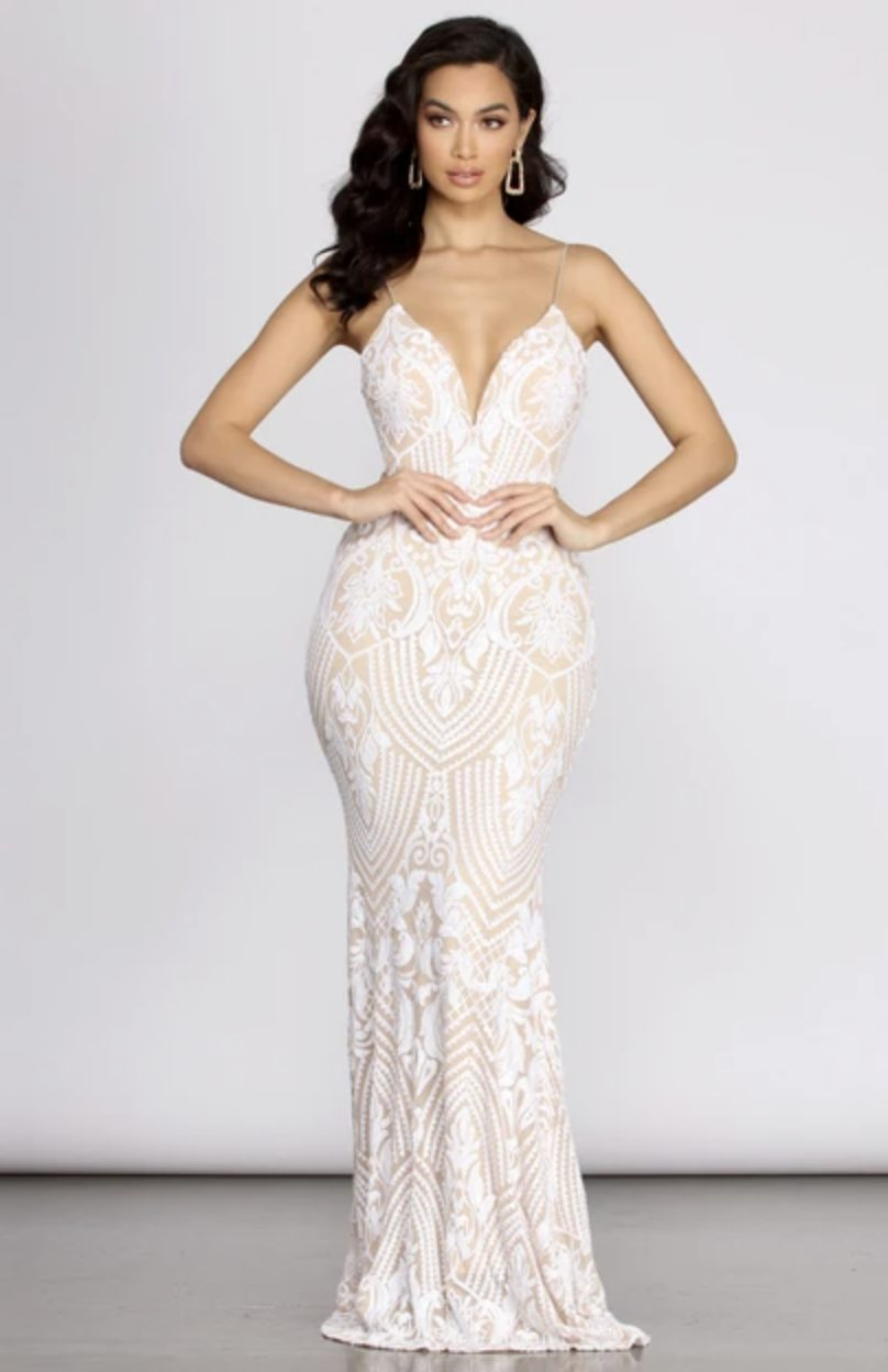 Nude and white sequin prom dress with mermaid tail
