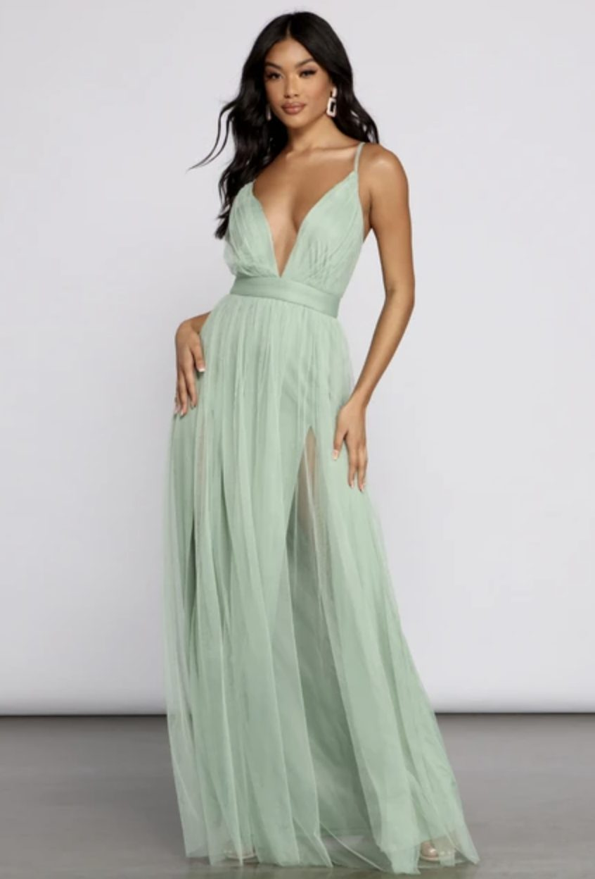 Sage green long dress with tulle