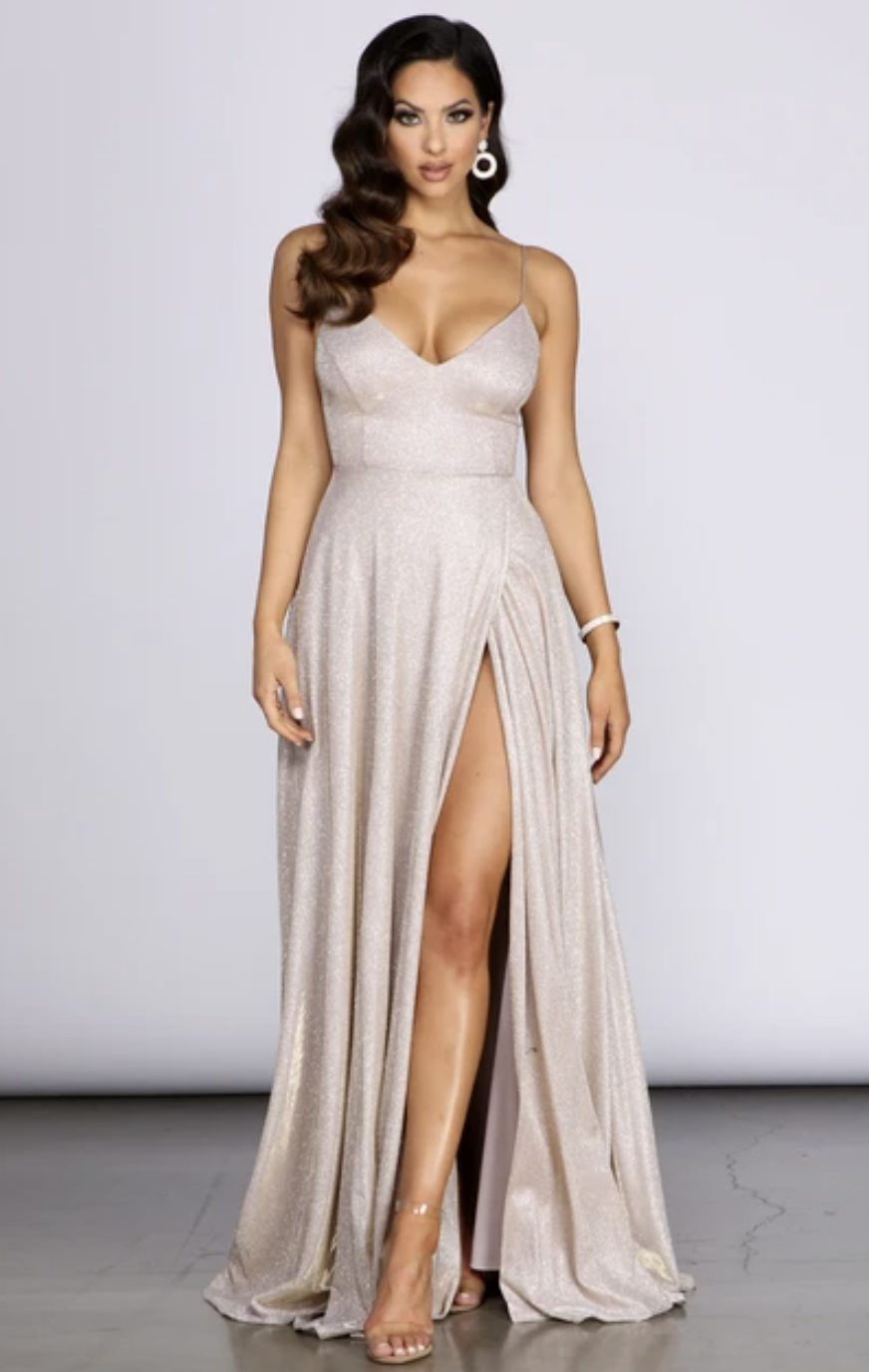 Silver shint prom dress with sequins and split