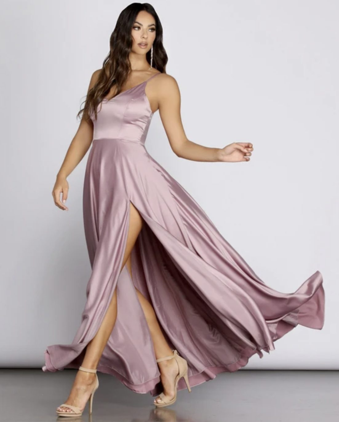 Mauve and pink prom dress with split