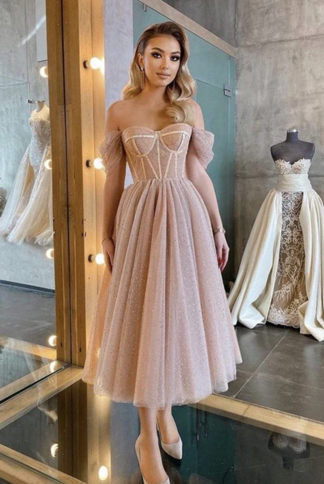 Blush pink corset dress with tulle - perfect as a pink ball gown