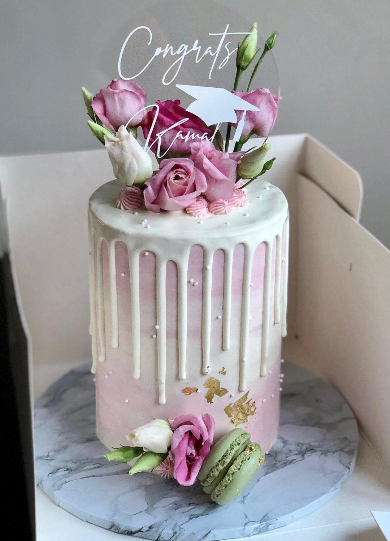 Elegant pink graduation cake ideas