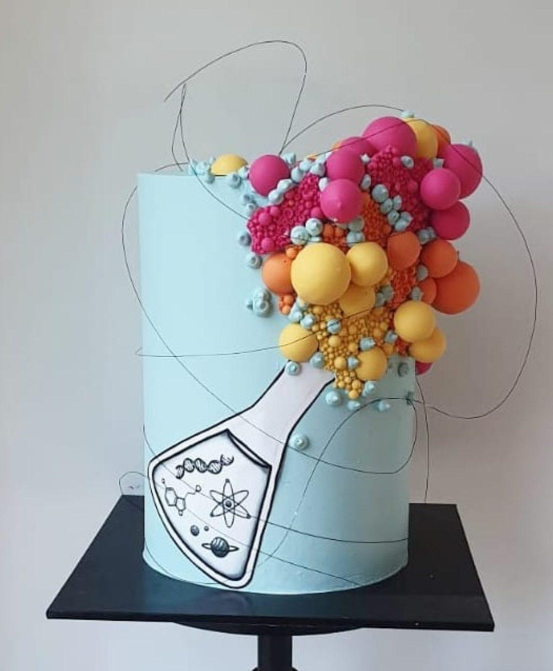 Unique chemistry graduation cake