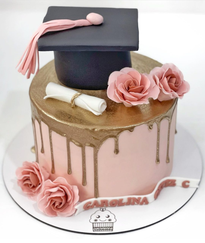Elegant pink and gold grad cake