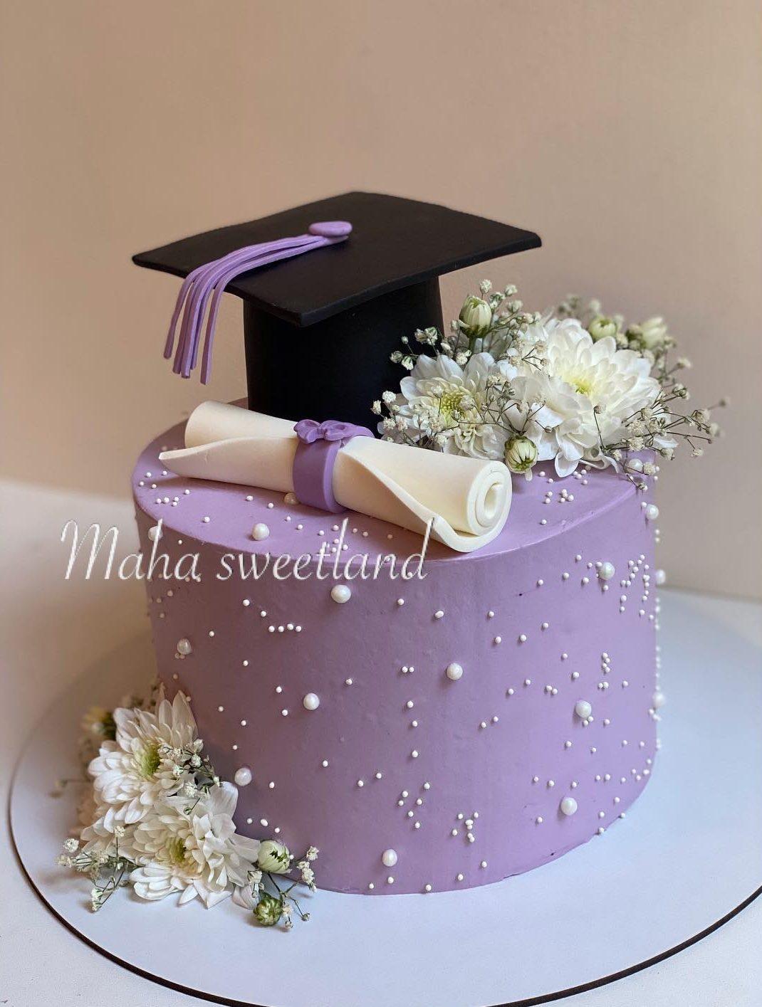 Elegant purple graduation cake