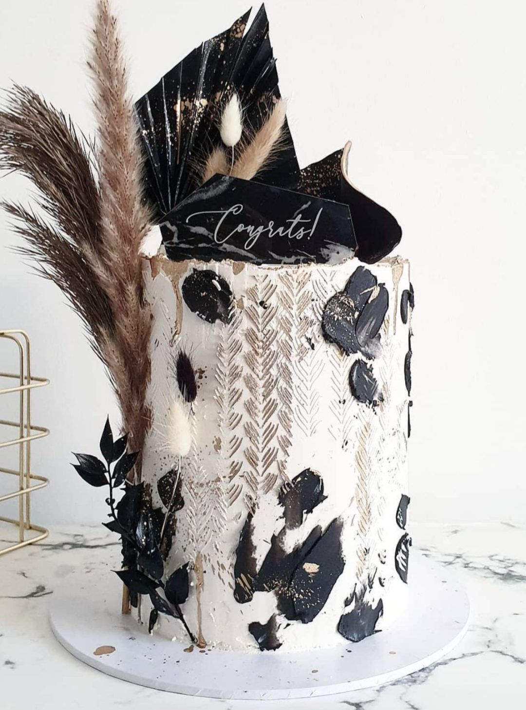 Luxury black and white cake