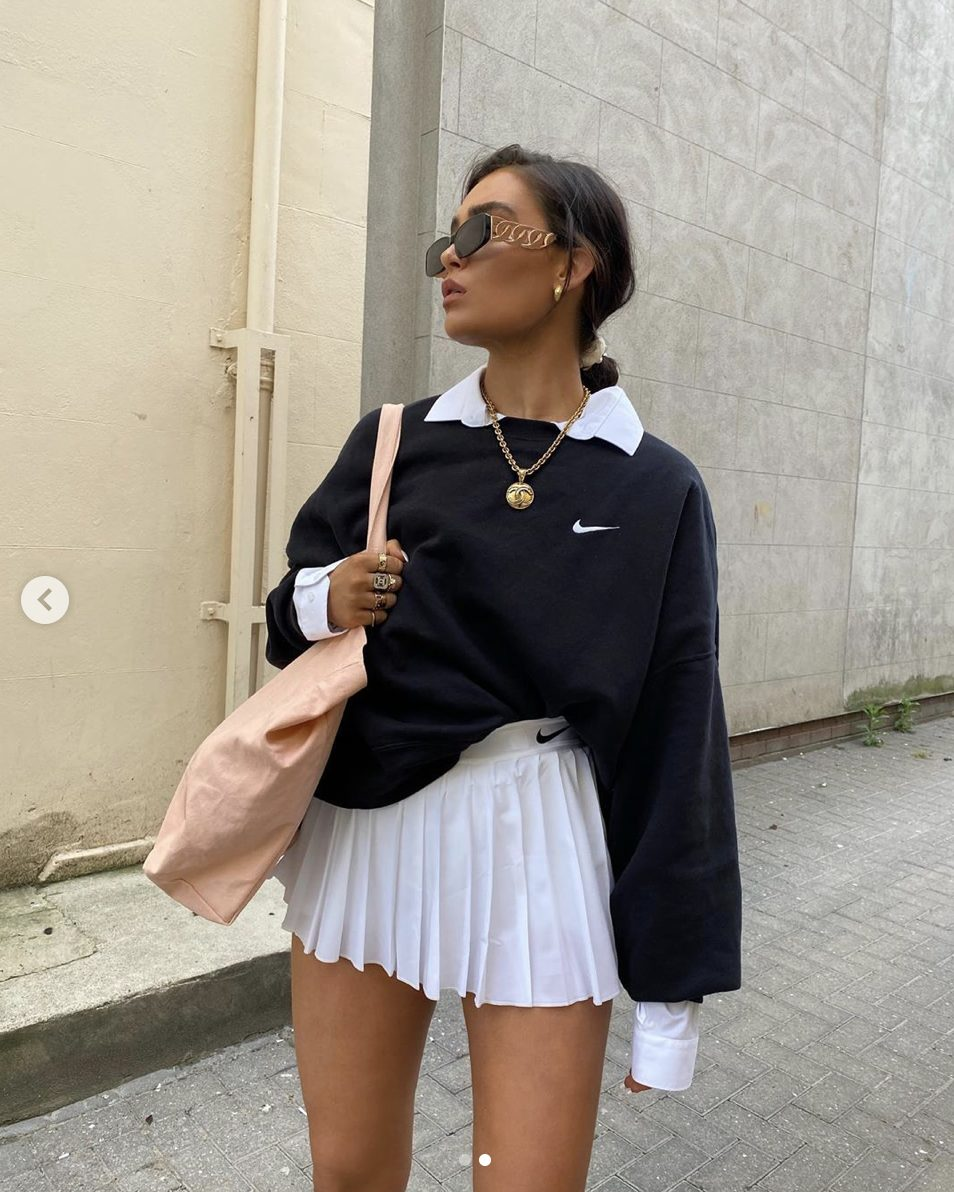 Cute white tennis skirt outfits with sweater