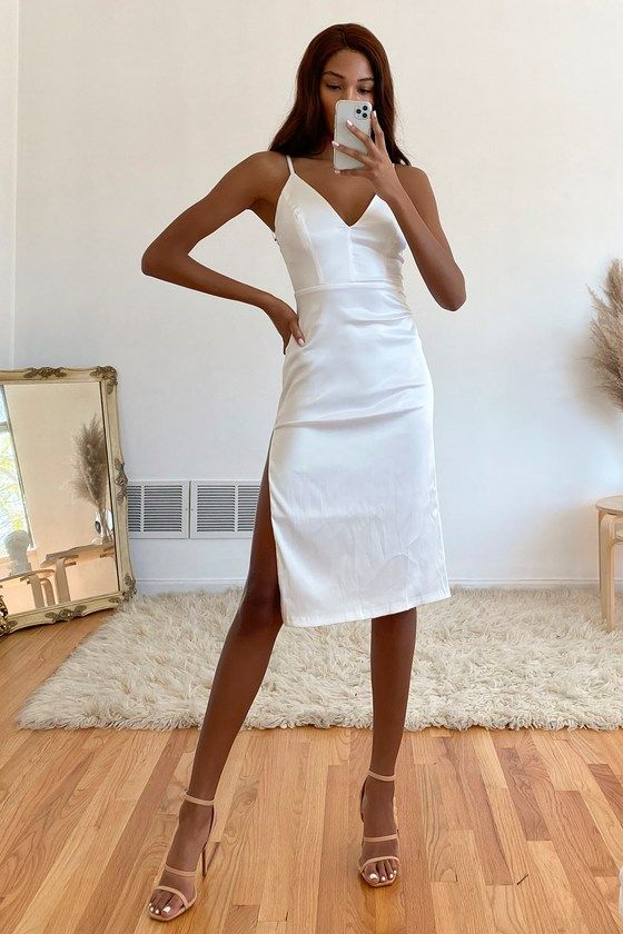 Sophisticated and affordable white satin dress with slit