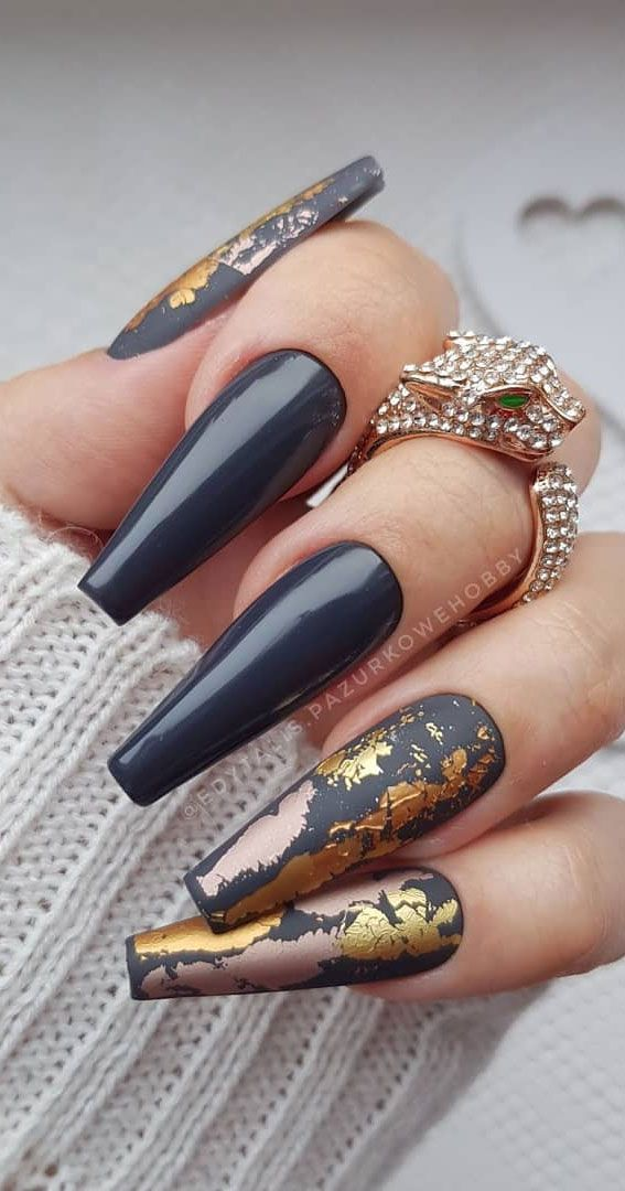 Grey and gold foil coffin nails
