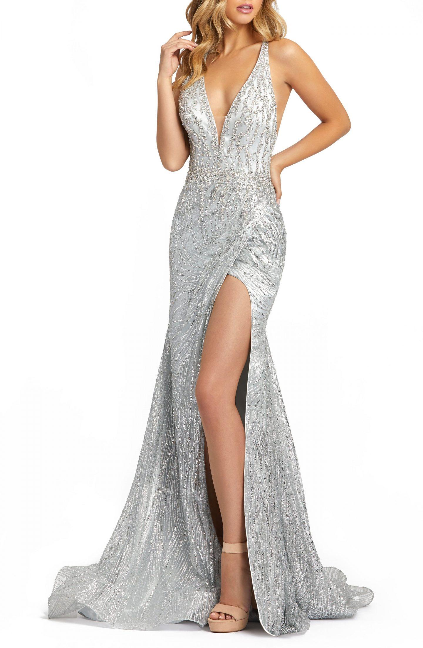 Silver beaded prom dress with split
