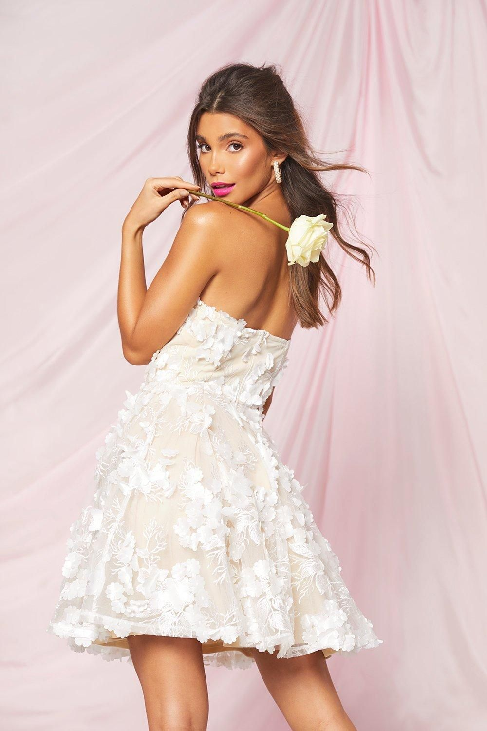 White graduation dress with lace